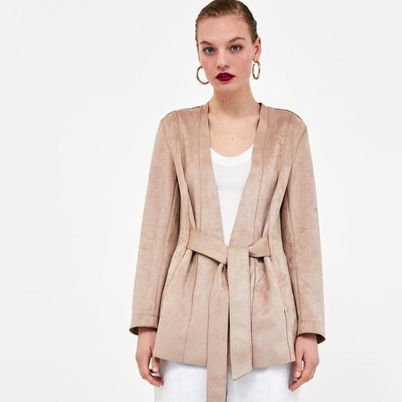 ed1951db Zara Faux Suede Jacket with Belt - Size L. M_5b0f3c6ef9e5014d6f64d96c